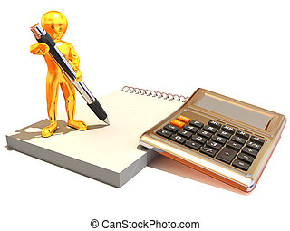Men with calculator and notebook