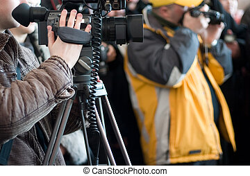 men with cameras - Group of journalists with photo and video...