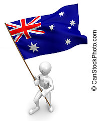 Men with flag. Australia