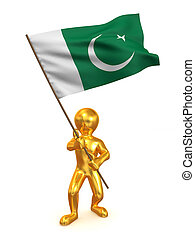 Men with flag. Pakistan