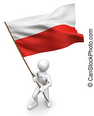 Men with flag. Poland