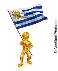 Men with flag. Uruguay. 3d
