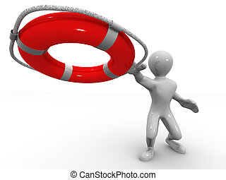 Men with life preserver. 3d