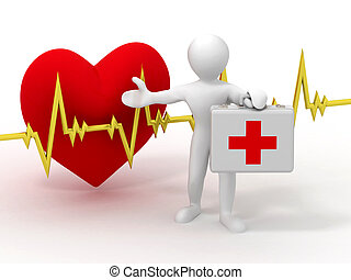 Men with medical case and heartbeat
