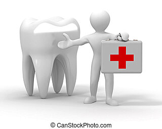Men with medical case and tooth. Dentist