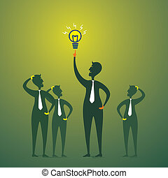 men with new idea or bulb