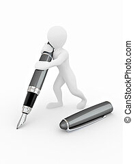 Men with pen on white isolated background