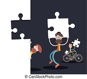 Men with Puzzle Pieces on Black Background. Vector Creative Team Cartoon.