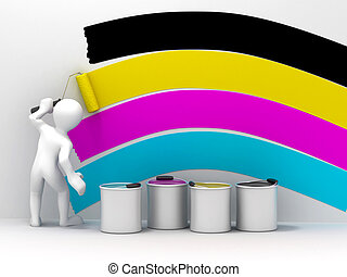 Men with roller brush. Space for text. cmyk