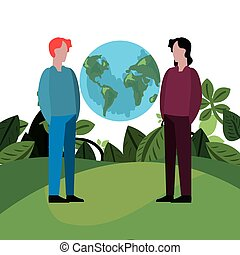 men with world earth day