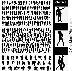 men, woman, goups and couples silhouettes - hundreds of...