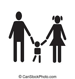 men woman holding baby figure black silhouette simple icon set vector illustration