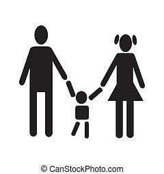 men woman holding baby figure black silhouette simple icon set vector illustration