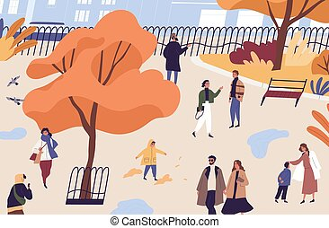 Men, women and children walking in autumn city park. People spend time in urban garden. Fall recreational activity at public place. Flat vector cartoon illustration