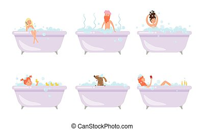 Men, women and dog taking bath and relaxing vector illustration