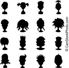 Men, women, child black avatar profile picture icon set -...