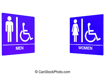 Men women restroom sign with handicap access in isolated whitel background