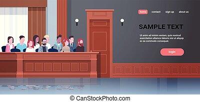 men women sitting jury box court trial session mix race...
