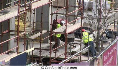 Men working in construction industry