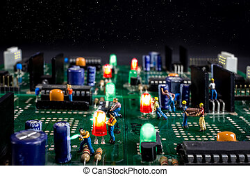 men work on a starry night in a electronic city