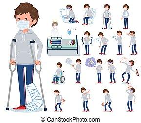 men_sickness, plano, gris, máscara, tipo, foodie