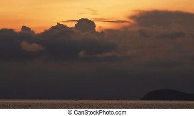 menaçant, noir, levers de soleil, clouds.