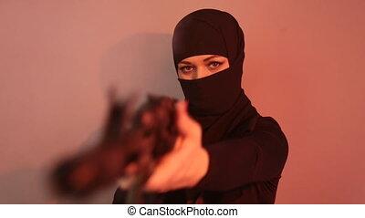 menaçant, terroriste, bande, occidental, pays