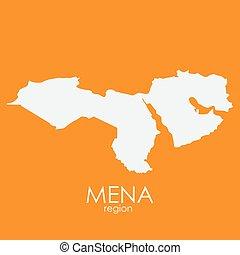 Mena Region Map Vector Illustration EPS10