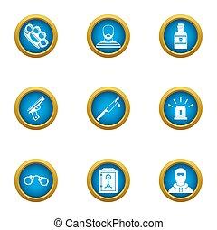 Menace icons set, flat style