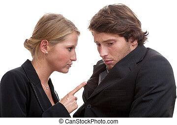 menacer, femme, patron