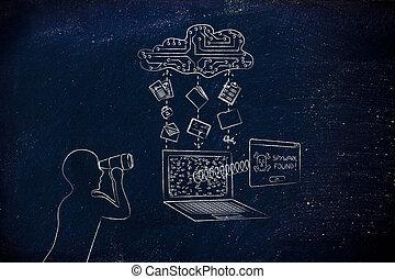 menaces, transfert, espionnage, privé, jumelles, spyware, données, homme