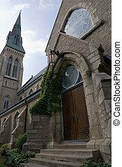 Menacing Church Doors - A set of large closed church doors,...