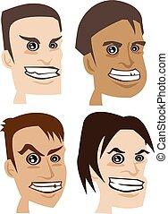 Menacing Expressions on Mens Face Vector Illustration - Set...