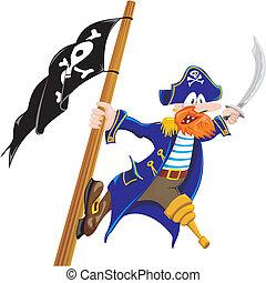 menacing pirate - pirate on the mast brandishing a sword
