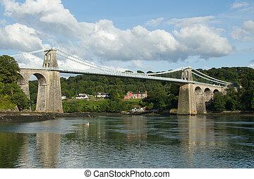 Menai suspension bridge. - A view of the historic Menai...