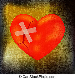 Mended Heart - Cracked heart over a scorched parchment...