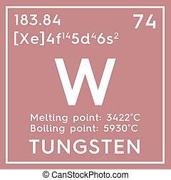 mendeleev's, transición, elemento, químico, metals., periódico, tungsten., tabla