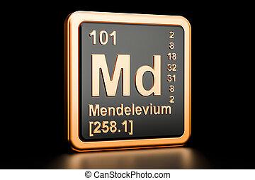 Mendelevium Md chemical element. 3D rendering - Mendelevium...
