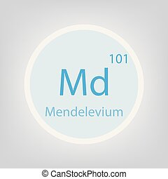 Mendelevium Md chemical element icon- vector illustration