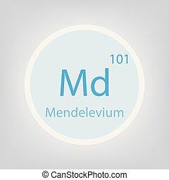 Mendelevium Md chemical element icon- vector illustration