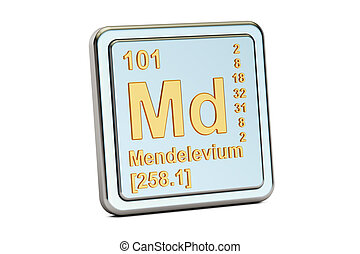 Mendelevium Md, chemical element sign. 3D renderingisolated...