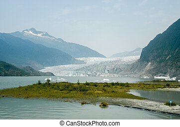 Mendenhall Glacier - Alaska - Mendenhall Glacier and lake in...