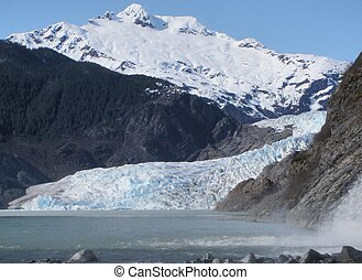 Mendenhall Glacier at Juneau Alaska - Horizontal view of...