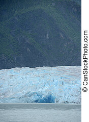 Mendenhall Glacier in Juneau Alaska with a glacial lake