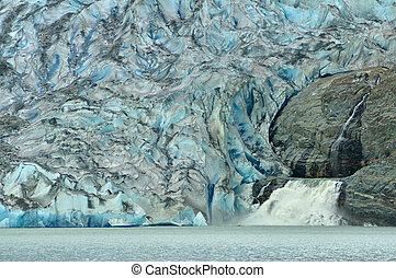 mendenhall gletscher, und, wasserfall, juneau, alaska