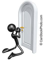 mendiant, être, laisser, porte, fermé
