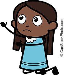 mendigar, caricatura, niña, negro