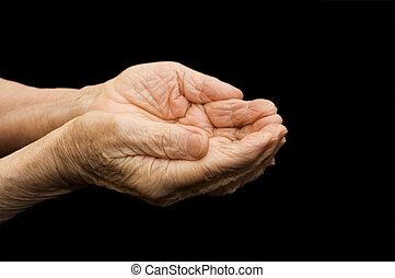 mendigar, manos, viejo, negro