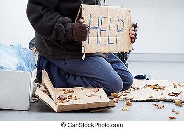 mendigar, sin hogar, hombre