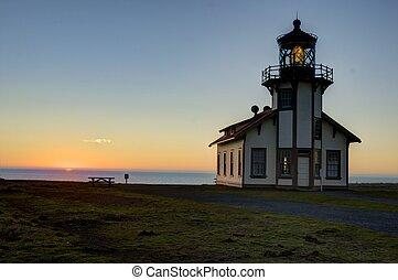 Pt. Cabrillo lighthouse at sunset - Mendocino coast, Pt. ...